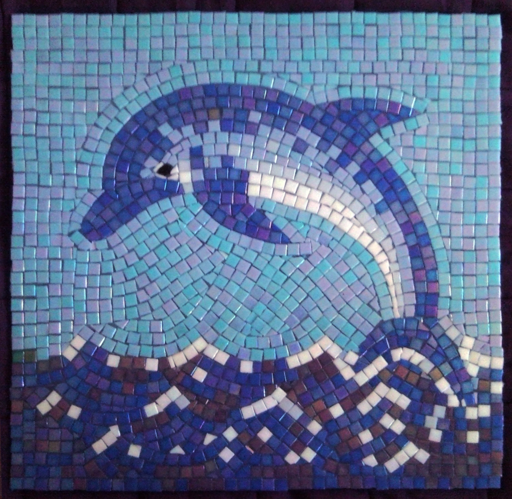 Glass Mosaic Dolphins Judit Hollo Interior Design